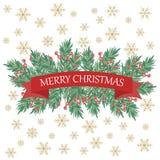 Ретро рождественская открытка с ветвями и приветствиями дерева иллюстрация вектора