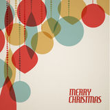 Ретро рождественская открытка с украшениями рождества Стоковое Изображение