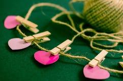 Ретро розовая предпосылка сердец дня валентинок Стоковое фото RF