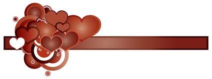 ретро сердец знамени красное иллюстрация штока