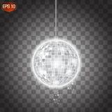 Ретро серебряный вектор шарика диско, сияющий символ клуба иметь потеху, танцы, dj смешивая, ностальгическую партию, развлечения бесплатная иллюстрация