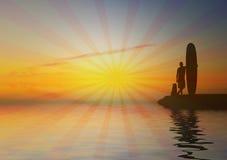 ретро серфер захода солнца Стоковое Изображение RF