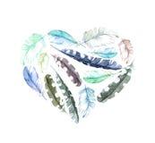 Ретро сердце - пер птицы Винтажная акварель на день валентинки Стоковое Изображение
