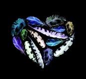 Ретро сердце - пер птицы Винтажная акварель на черной предпосылке Стоковые Фотографии RF