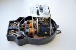 Ретро, сетноой-аналогов, электрический однофазный метр был произведен на заводах положения СССР стоковая фотография