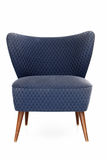Ретро стул обитый синью Стоковое фото RF