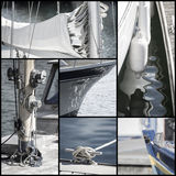 Ретро собрание взгляда деталей парусника яхты Стоковое Изображение RF