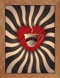 Ретро солнце излучает в черной, белизне и цветах кофе В центре Стоковое Изображение