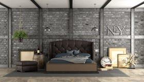 Ретро спальня хозяев в просторной квартире Стоковые Фото