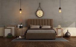 Ретро спальня хозяев с двуспальной кроватью иллюстрация штока