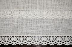 Ретро старое textiloe шнурка с предпосылкой кружевной текстуры ленты романтичной Стоковое Изображение