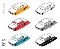 Ретро старые значки вектора автомобиля установили для архитектурноакустических чертежа и иллюстрации иллюстрация вектора