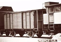 Ретро старые фуры поезда Стоковые Фотографии RF
