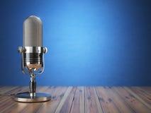 Ретро старый микрофон Радиопостановка или тональнозвуковая концепция podcast Vinta иллюстрация штока