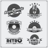 Ретро студия музыки emblems, ярлыки, значки и элементы дизайна Стоковое фото RF