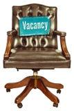 Ретро стул офиса при знак вакансии изолированный на белизне Стоковое Изображение