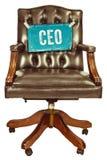 Ретро стул офиса при знак главного исполнительного директора изолированный на белизне Стоковое Фото