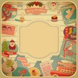Ретро с Рождеством Христовым рождественская открытка Стоковая Фотография