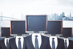 Ретро ТВ возглавило бизнесменов иллюстрация вектора