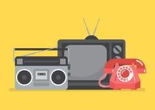 Ретро телевидение и радио Стоковая Фотография