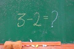 Ретро тема школы, стол с сочинительством мела Стоковые Изображения RF