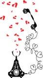 Ретро телефон и сердца в винтажном стиле. Стоковое Изображение