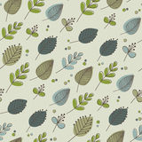 Ретро тоны листьев и цветков зеленые Стоковые Изображения