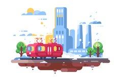 Ретро трамвай на предпосылке городского пейзажа иллюстрация штока