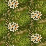 Ретро тропическая картина цветков и листьев безшовная Стоковые Изображения