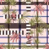 Ретро тропические деревья и листья plam смешанные с геометрической нашивкой бесплатная иллюстрация