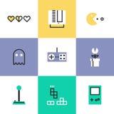 Ретро установленные значки пиктограммы игры иллюстрация штока