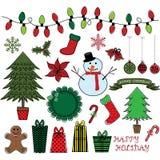 Ретро установленные Doodles рождества Стоковые Изображения