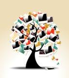 Ретро фамильное дерев дерево с поляроидными рамками фото Стоковые Изображения RF