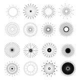 Ретро формы взрыва Солнця Винтажный логотип, ярлыки, значки Стоковое фото RF
