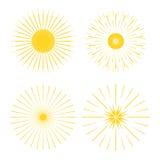 Ретро формы взрыва Солнця Винтажный логотип starburst, ярлыки, значки Стоковое Фото