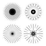 Ретро формы взрыва Солнця Винтажный логотип starburst, ярлыки, значки Стоковые Фотографии RF