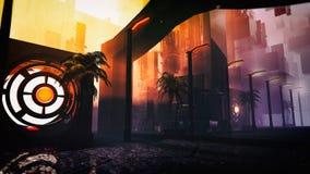 Ретро футуристическая иллюстрация городского пейзажа научной фантастики Стоковые Изображения RF