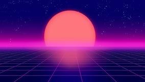 Ретро футуристическая иллюстрация стиля 3d 1980s предпосылки Стоковая Фотография RF
