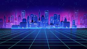 Ретро футуристические 1980s города небоскреба вводят иллюстрацию в моду 3d иллюстрация штока