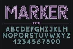 Ретро футуристический смелейший декоративный дизайн шрифта, алфавит, пальмира Стоковая Фотография RF