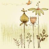 Ретро флористическая карточка Стоковое Фото