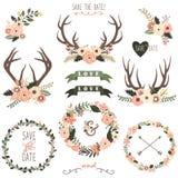 Ретро флористическое собрание Antlers бесплатная иллюстрация