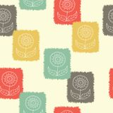 Ретро цветки печати блока штемпелюют безшовную предпосылку картины Grunge напечатал этническую предпосылку природы, обои иллюстрация штока