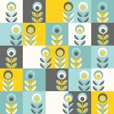Ретро цветочный узор, геометрические безшовные цветки иллюстрация штока