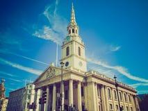 Ретро церковь Лондон St Martin взгляда Стоковые Фото