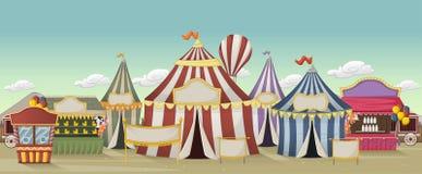 Ретро цирк шаржа с шатрами иллюстрация штока