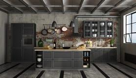 Ретро черная кухня в старой комнате иллюстрация штока