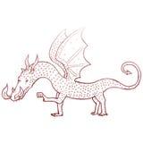 ретро чертеж дракона шаржа Стоковое Изображение