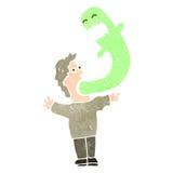 ретро человек шаржа обладаемый призраком Стоковые Изображения RF