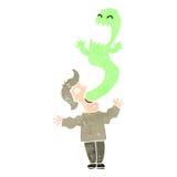 ретро человек шаржа обладаемый призраком Стоковая Фотография